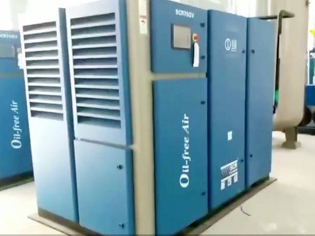 SCR100GV斯可络无油螺杆空压机24小时为海南省人民医院提供压缩空气